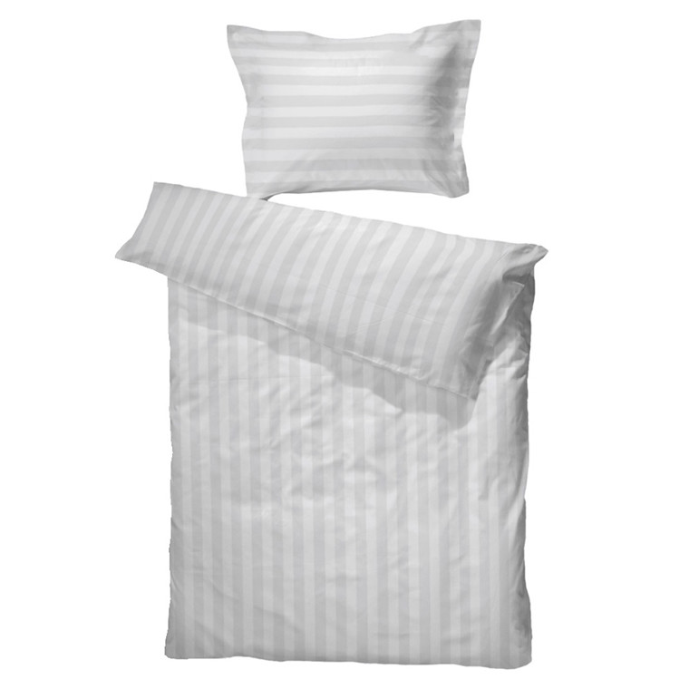 Satinvævet hotelstrib hvid 100% bomuld 140x220
