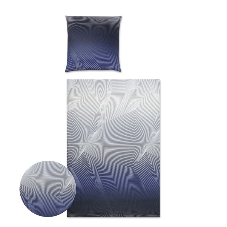 YES Lines makosatin sengetøj blå 710/1 135x220