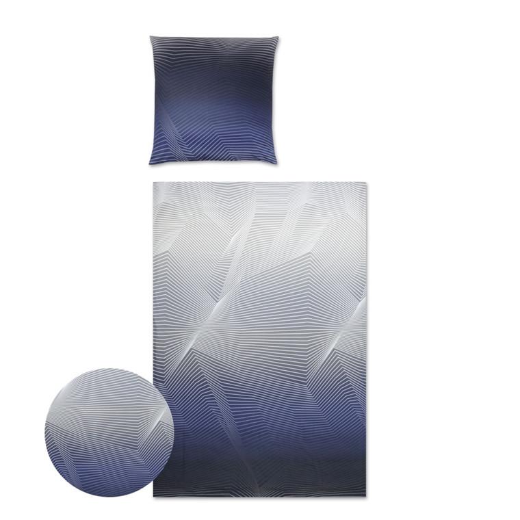 YES Lines makosatin sengetøj blå 710/2 135x200
