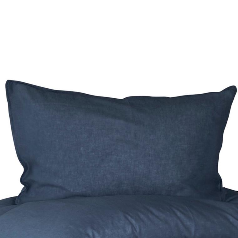 Pudebetræk til stor pude 70x100 med hør og bomuld Mørke Blå