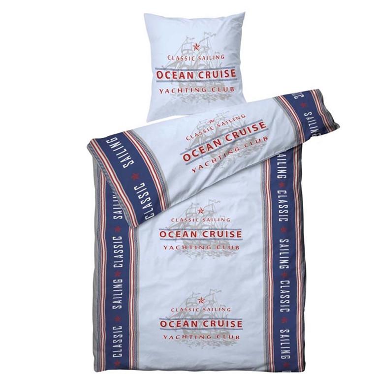 Ocean bomulds sengetøj blå 140x220