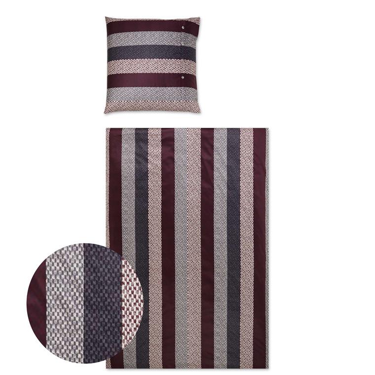 YES Woven Stripe vinrød popline sengetøj 700/1 135x220