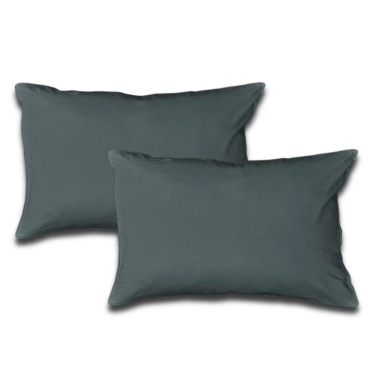 2 stk Sopire bambus hovedpudebetræk mørk grå 50x90