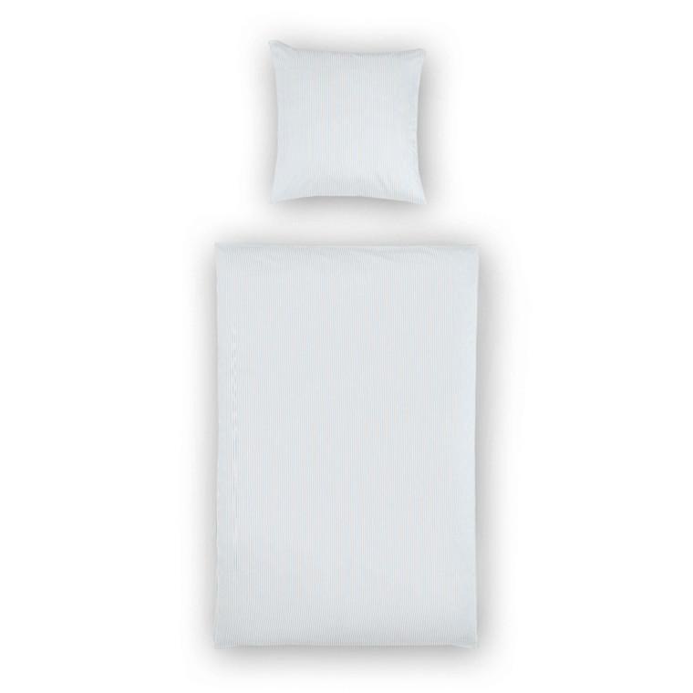 Maco-satin sengetøj lysblå smalstrib 135x200 902/22