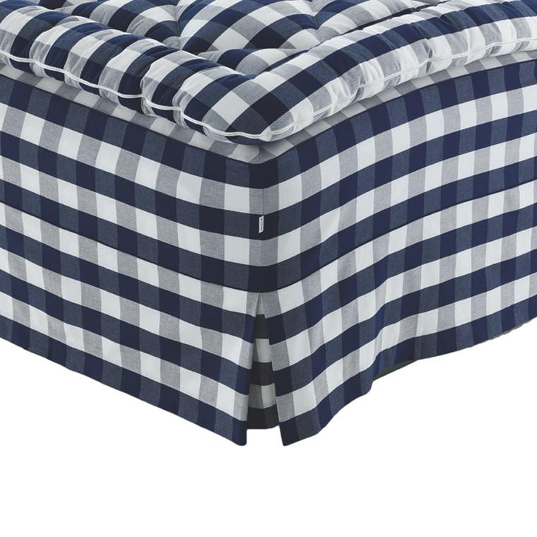 Hästens box pleats sengekappe original blå tern CB001