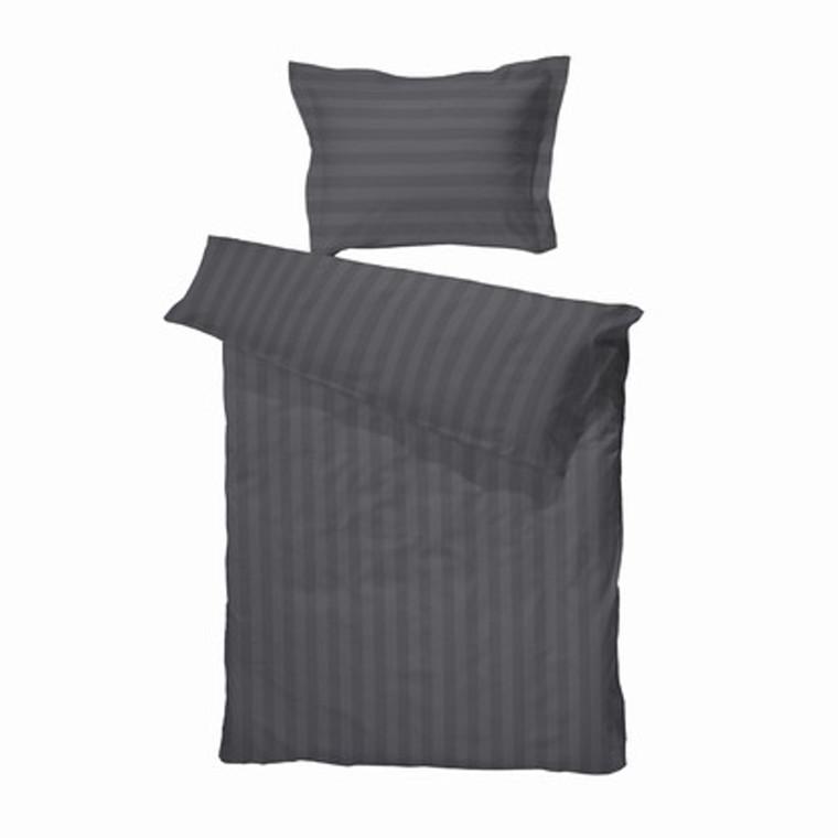 Klassisk, Excellent hotelstrib sengetøj grå 140x200