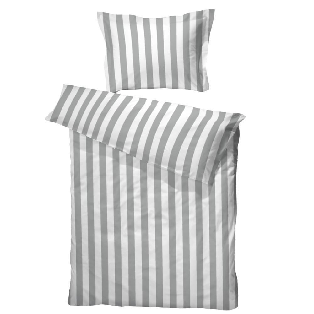 bomuldssatin sengetøj BC Anne sengetøj grå/hvid bomuldssatin 140x200 bomuldssatin sengetøj