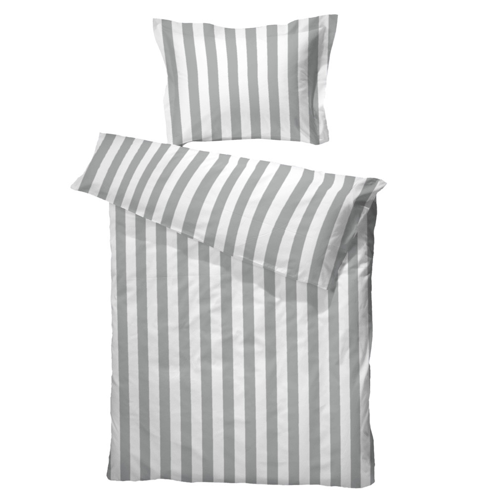 sengetøj 140x200 BC Anne sengetøj grå/hvid bomuldssatin 140x200 sengetøj 140x200