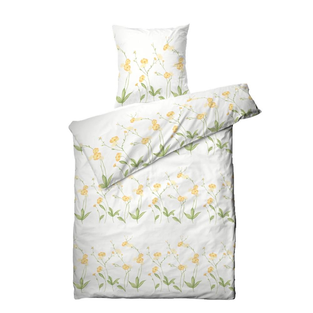 blomstret sengetøj Markblomst bomuldssatin sengetøj 140x200 blomstret sengetøj