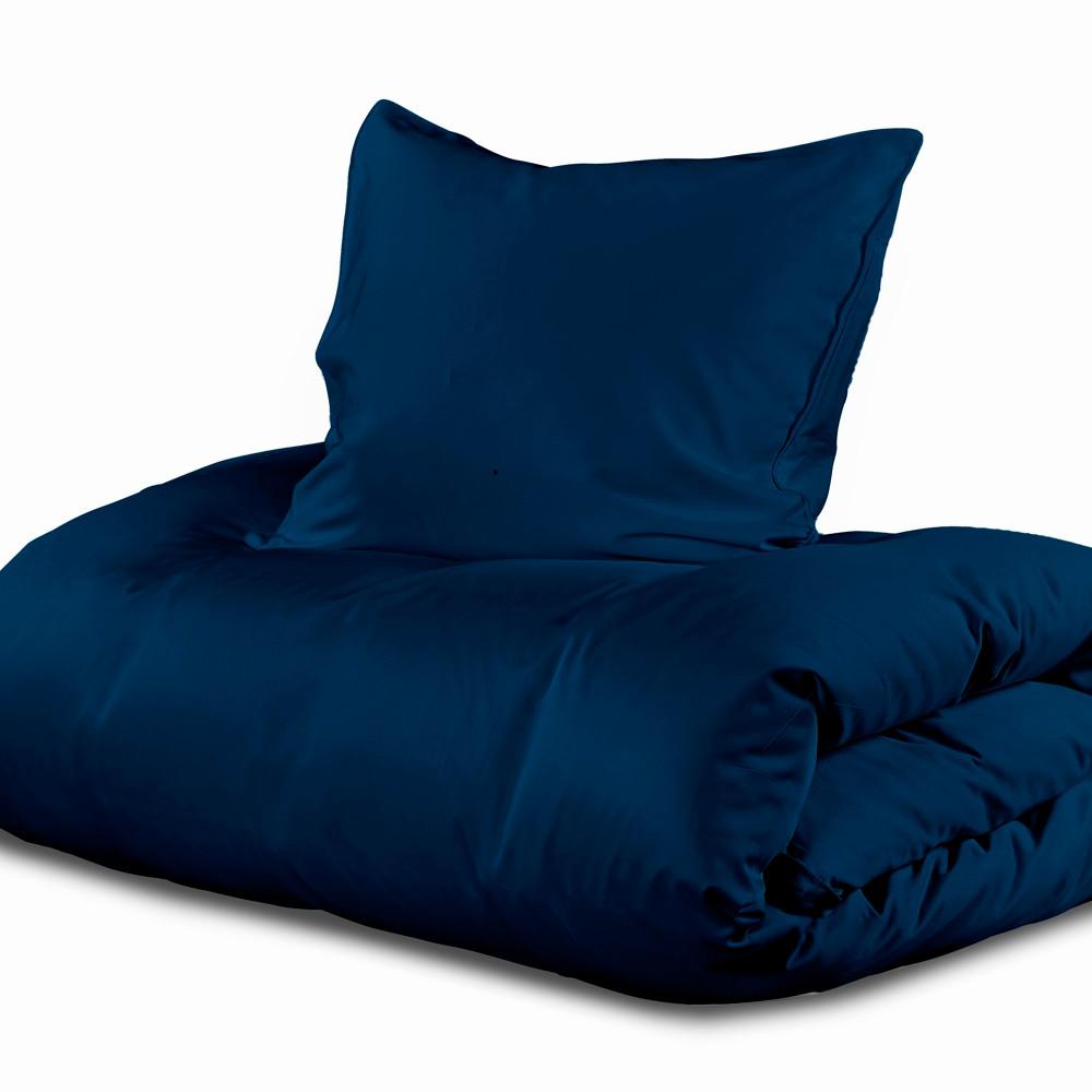 sengetøj med lynlås Sopire Silke sengetøj med bomuld 140x220 kongeblå sengetøj med lynlås