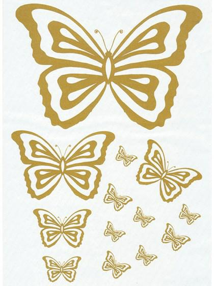 Printark - Sommerfugl, guld