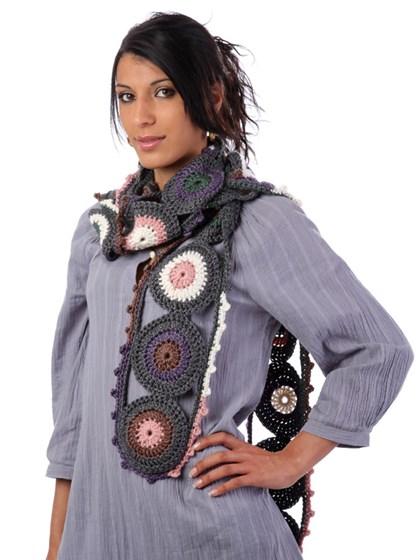 Retro Cirkeltørklæde - Hæklet - (One-Size)