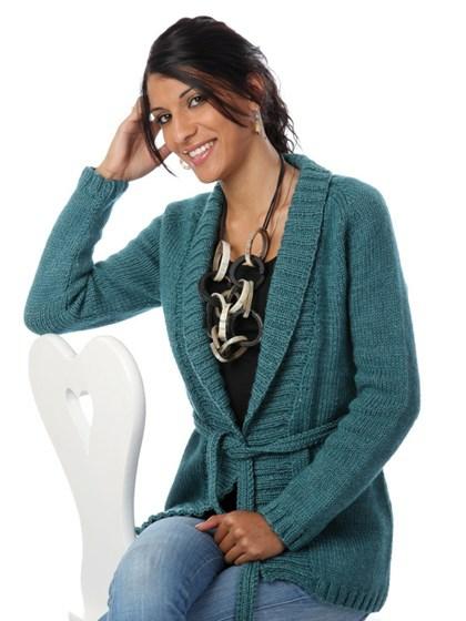 Trøje med sjalskrave og mønster på ryggen