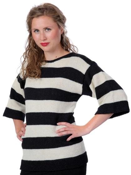 Bredstribet trøje med bådhals