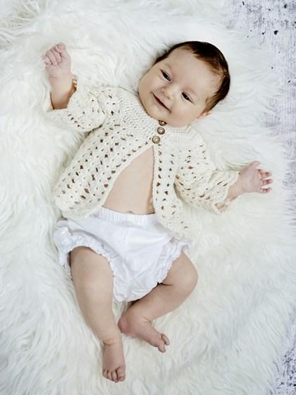 Hæklet muslingetrøje (baby/børn)