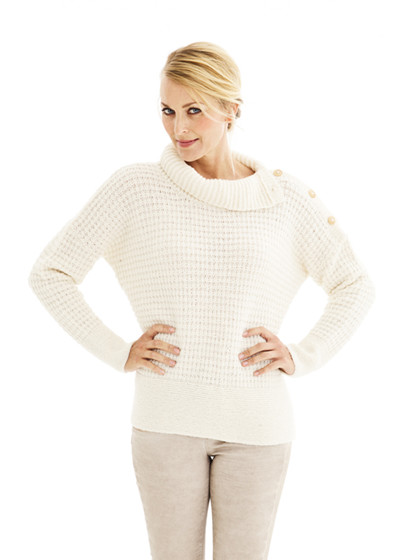Sweater med krave og skulderlukning