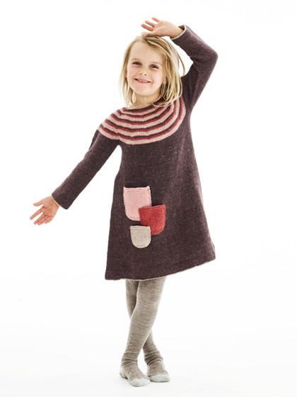 Julekjole med stribet bærestykke (børn)