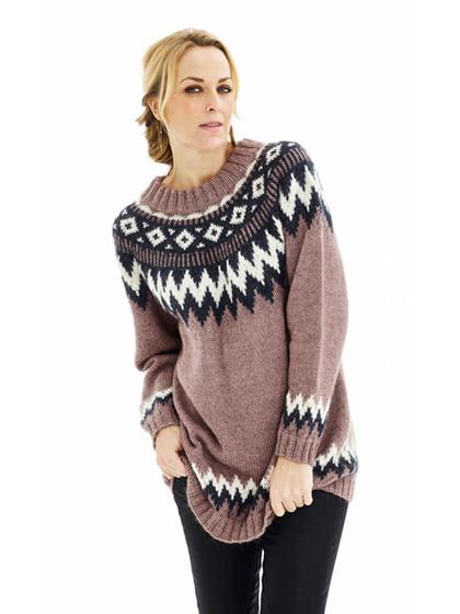 Oversize sweater med nordisk mønster