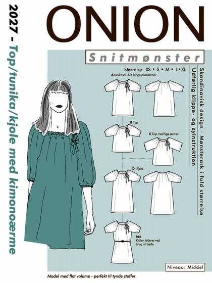 Snitmønster, Top/tunika/kjole m. kimonoærme