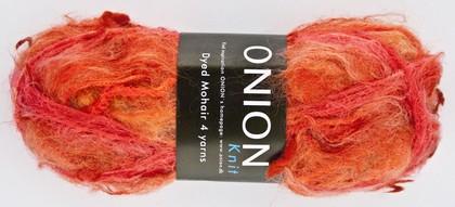 Dyed Mohair, koral,rød,pink