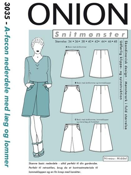 Snitmønster, A-facon nederdele med læg og lommer