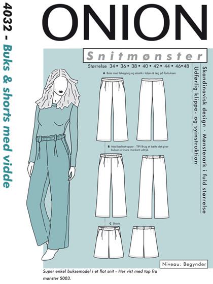 Snitmønster, Buks & shorts med vidde til fast stof