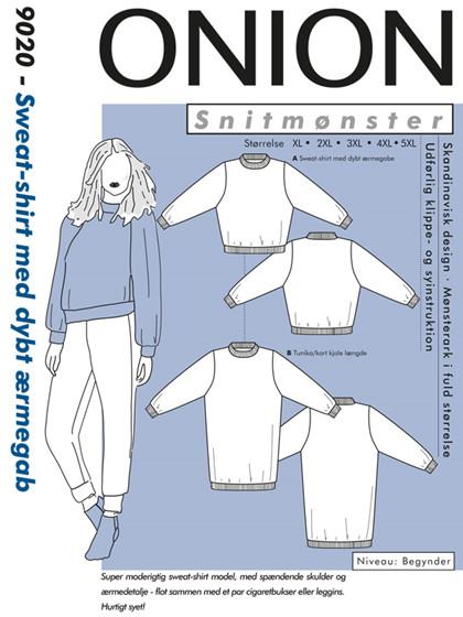 Snitmønster, Sweat-shirt med dybt ærmegab