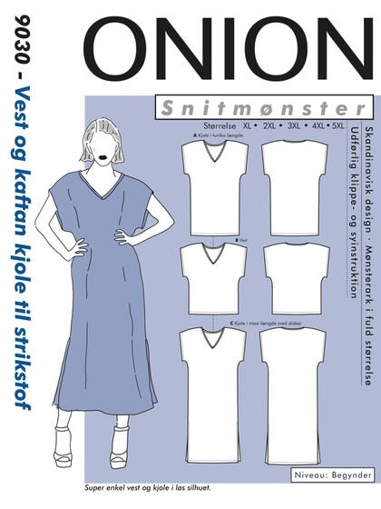 Snitmønster, Plusstørrelser - Vest og kaftan kjole til strikstof