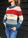Bredstribet mohair sweater i dobbelt garn