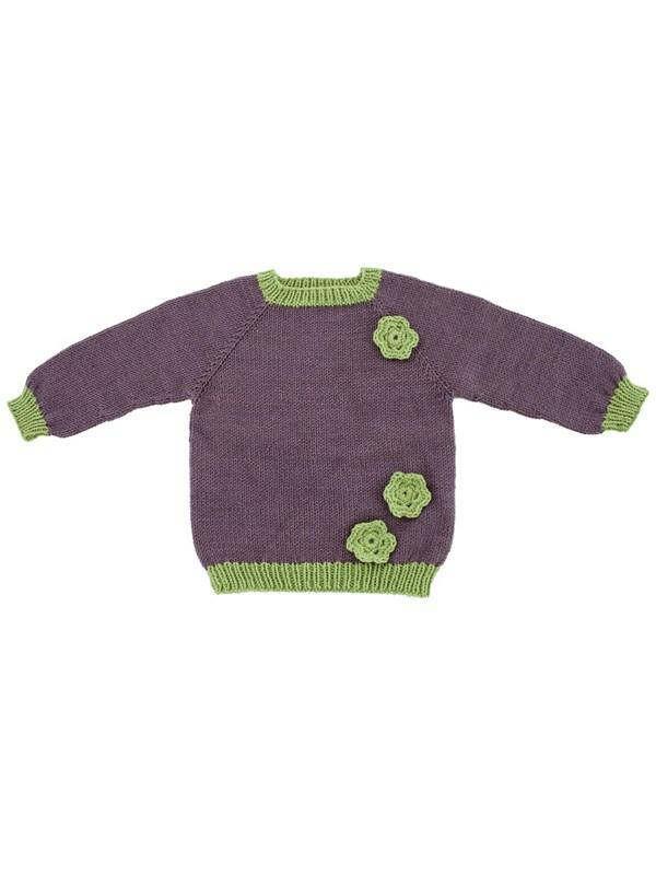 c24068cf349 Oppefra og ned trøje med hæklede blomster (børn) - Onion ApS