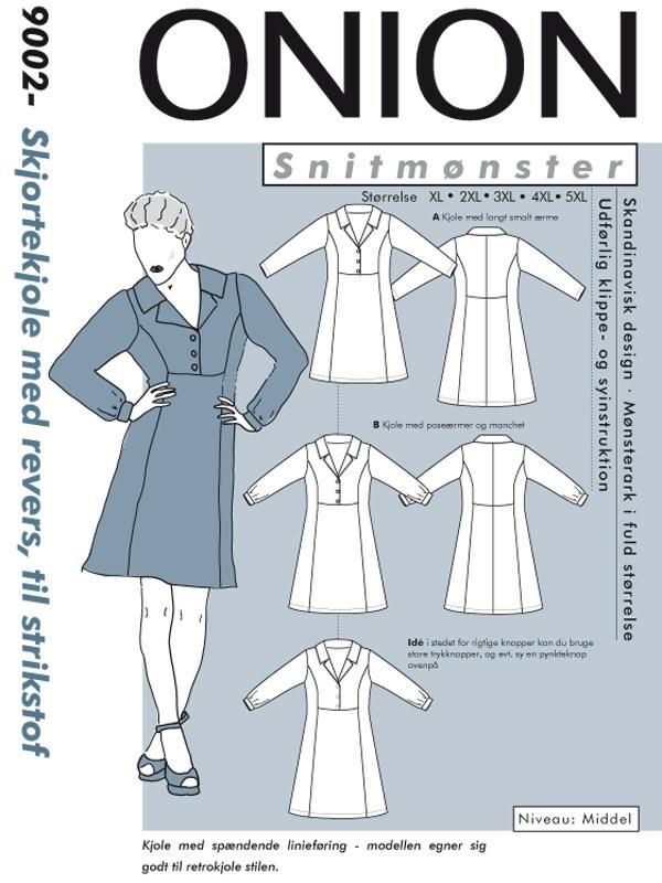 Snitmønster, Plus størrelser, Skjortekjole med revers, til