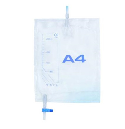Urinpose A4 2000 ml, 117 cm slange prøveudt. steril