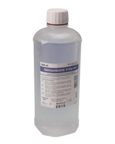 Saltvand, NaCl 0,9%, flaske, steril, 1000 ml
