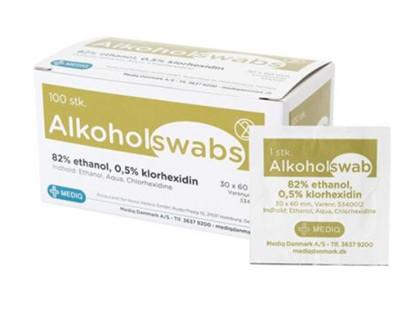 Alkoholswab 82% ethanol 0,5% klorhexidin