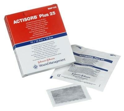 Actisorb-plus+25 sølv 9,5x6,5cm 10 stk/æske