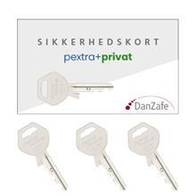 pextra sikkerhedskort m/ 3 nøgler