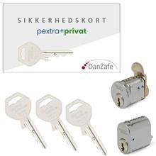 1 stk. pextra+ 4060S-6 & 1 stk. . pextra 4007-6 cylinder mat krom m/kort og 3 nøgler