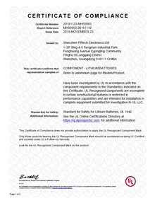 Certificate - test report UL62133 <br />Electronics - Certificates
