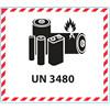 Fareetiket Lithiumbatterier UN 3480 hvid/sort 120x110mm 250stk