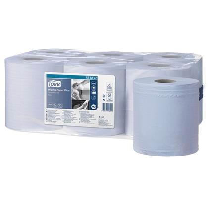 Aftørring Tork plus blå center m2 128207 6rl/kar
