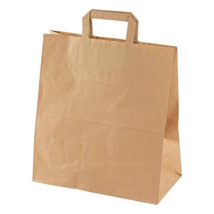 Papirsbærepose brun 20,3L 80g 320/160x350mm 200stk/pak