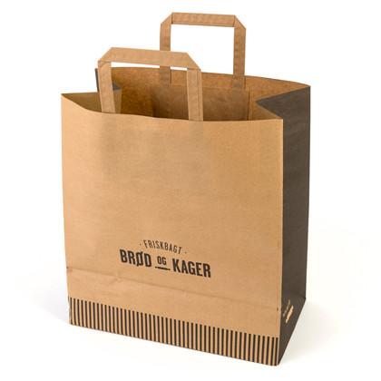 Papirsbærepose 320/170x350mm Friskbagt brød og kager 200stk