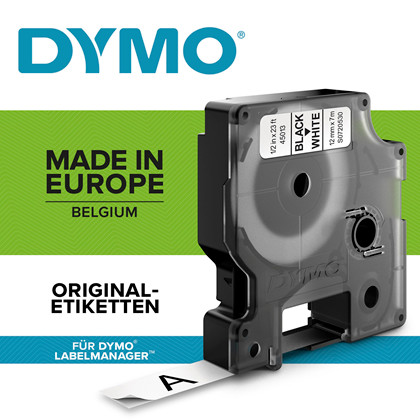 Labeltape DYMO D1 12mm sort på hvid