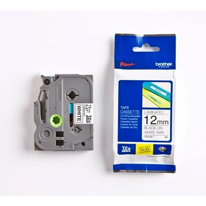 Labeltape Brother TZe231 12mmx8m sort på hvid lamineret