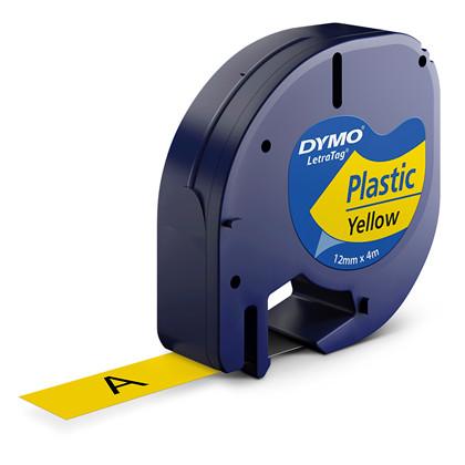 Labeltape DYMO LetraTAG 12mmx4m gul plasttape