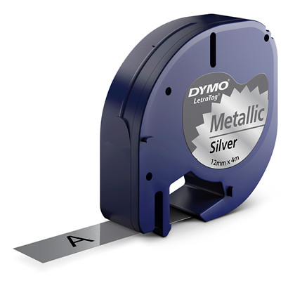 Labeltape DYMO LetraTAG 12mmx4m metalsølv metaltape