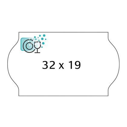 Etiket Meto 32x19mm hvid vandopløselig lim 1000stk/rl