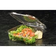 Plastbakke m/hængslet låg, 175x160x50mm salat m/dressingkop 220stk/kar