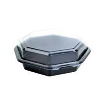 Plastbakke Octaview m/låg 8-kantet sort/klar 190x190x60mm 640ml  270stk/kar