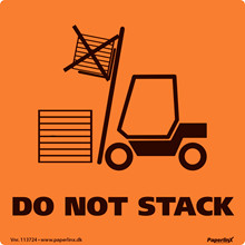 Etiketter Do not stack orange/ sort 100x100mm 250stk/rul